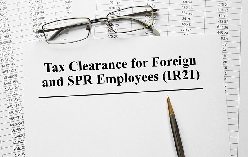 Tax Clearance for Foreign and SPR Employees (IR21)